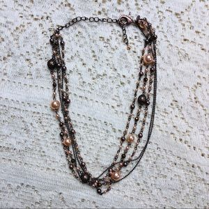 Jewelry - Multi-strand rose gold necklace